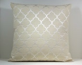 Natural Neutral color Moroccan Trellis decorative throw pillow cover 18 x18 inches Accent cushion sham slipcover.