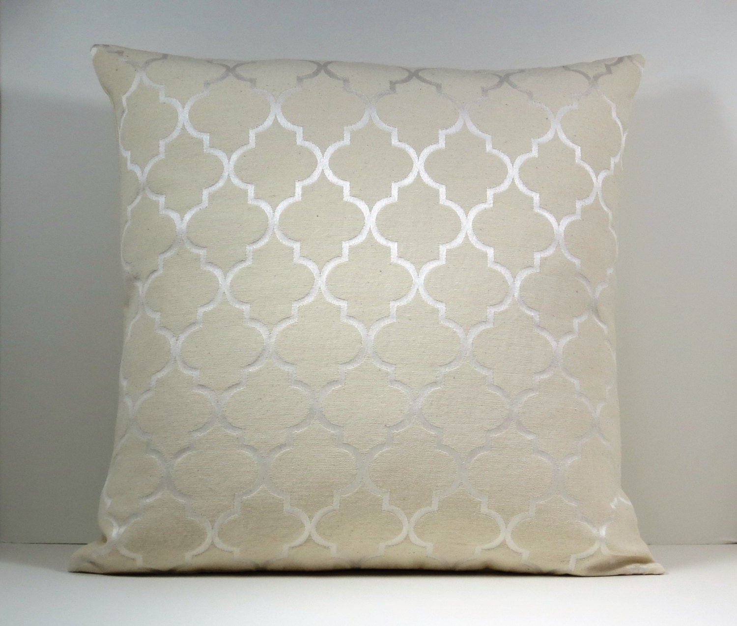 Throw Pillows For Neutral Couch : Natural Neutral color Moroccan Trellis decorative throw pillow