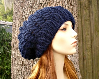 Knit Hat Womens Hat Slouchy Hat - Winter Cyclone Beret in Navy Blue Knit Hat - Navy Blue Hat Navy Blue Beret Womens Accessories