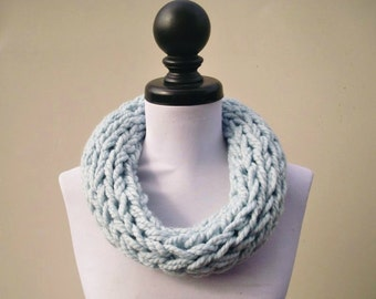 Knit Cowl - Polar Circle Scarf Cowl in Glacier Pale Blue Cowl - Blue Cowl Blue Scarf - Womens Accessories - READY TO SHIP