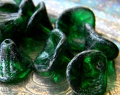 Acid Washed Emeralds (12) -Czech Glass Bell Flowers 9x12mm