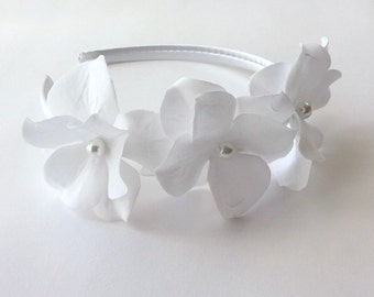 SALE Bridal White Velvet Hydrangea Flowers Headband