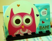 Owl --- glows in the dark Upcycled Giftcard Notebook    ---  no value on card