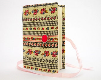 Journal notebook, journal diary, hand bound,  lined paper,  Retro, Flowers, Grey  Pink, travel journal, handmade books, personal journal