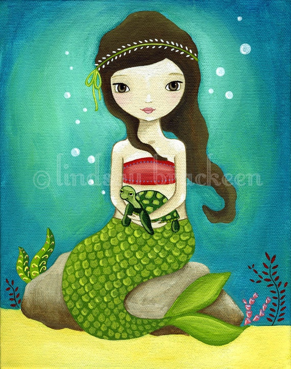 Mermaid Print Nautical Sea Turtle Kids Art