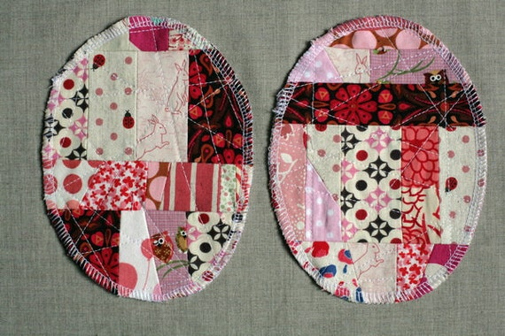 Patchwork Knee Patches - set of 2 pink