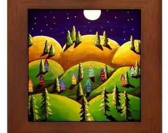 Peace on Earth 7 Landscape Moon Colorful Whimsical Folk Art Framed Ceramic Tile
