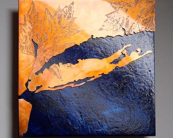 Copper Map Art of Long Island, New York copper on blue, 8 in