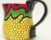 Handmade Ceramic Red Yellow Green and Black Mug 20 Ounces Ready to Ship