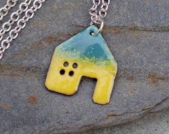 House Pendant Copper Enamel Home Necklace Enameled Jewelry - Yellow Green