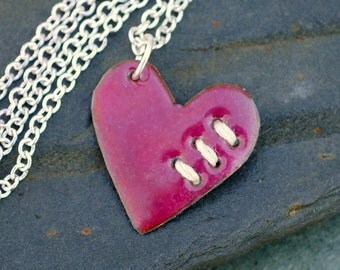 Valentine Jewelry Mended Heart Enamel Pendant Necklace Copper Enameled Sewn Pink Ivory
