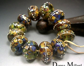 HANDMADE LAMPWORK GLASS Bead Set Donna Millard autumn fall blue green gold tribal camelback