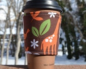Coffee cozy / coffee sleeve / coffee cup cozy -- Beautiful ZOO animals on brown