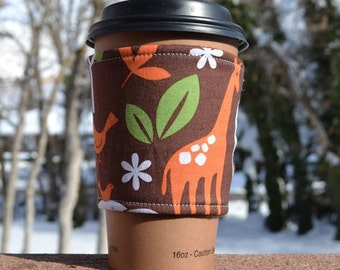 Coffee cozy / coffee sleeve / coffee cup cozy -- Beautiful ZOO animals on brown