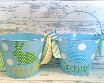 Monogrammed Blue Polka Dot Bunny Easter Bucket