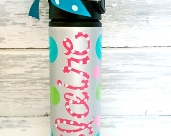 personalized monogrammed SILVER water bottle - perfect for team gifts