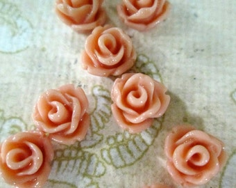 12 coral 7.5mm rose cabochons, small round resin flower cabs