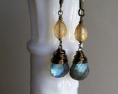 Denium and Sunshine Labradorite & Citrine Brass Drops
