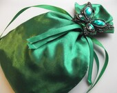 Lavender and Rose Bud Filled Emerald Green Satin Butterfly Pouch - To Benefit Heart Strings