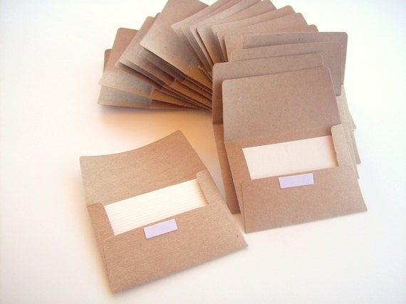 Kraft Mini Envelope - Peel and Stick - With Notecards - Set of 100
