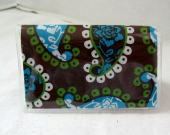 Business Card Holder Paisley Brown Turquoise Mini Wallet