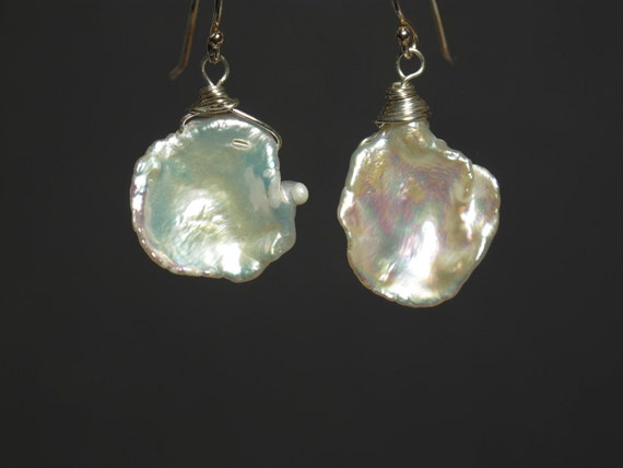 Keshi Pearl Earrings : High Luster Iridescent White Petal Keishi Pearls with Sterling Silver Wire Wrap Drop Earrings Large Cornflake Pearl