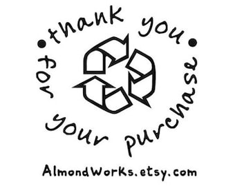 recycle symbol thank you custom rubber stamp