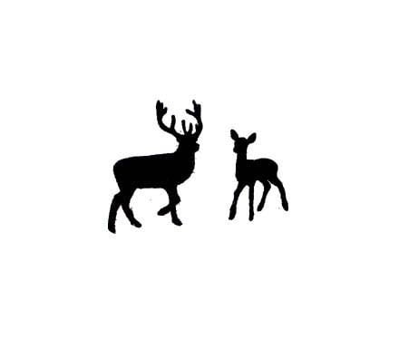 Mini Buck And Doe Lovers Deer Silhouette Rubber Stamp Set