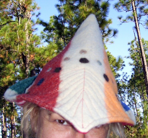 Stripe Felted Hat Gnome Pointed Winter Wool Elf Needle Felt Dots Hat OOAK Ugly Sweater Party Adult HAt