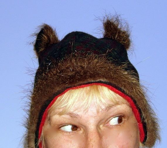 Nutria Fur Hats Plaid Wool Fur Hat Real Nutria