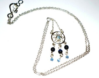Tiny Floral Wheel Pendant with Blue Cat Eye Optic Beads  Necklace  under 20