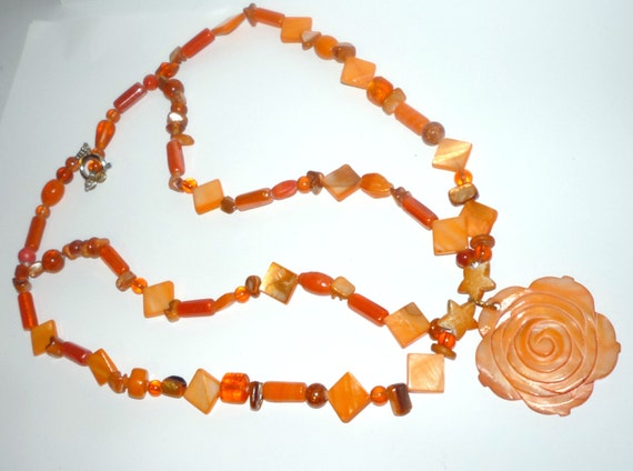 Tangerine Shell Glass Beads  Necklace Fun and Funky  Island  Beach Wear