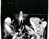 Undersea: A screen/letterpress print of an original illustration by Alethea Roy