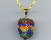 Fabergé Inspired Egg Pendant .18 x 24 mm Beadwoven Beaded Wooden Egg. Indigo. Easter Egg Jewelry - Eggs-essential  by enchantedbeads on Etsy