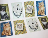 Charming Lot of 8 Vintage Cat Playing Cards