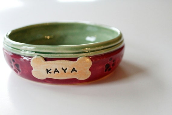 RESERVED for Sherry one Pet food Bowl Custom Name Custom Color Ceramic Stoneware Dish