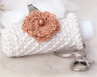 Lip Balm Crochet Keychain, Key Fob, Plush Off White Key Holder with Country Copper Crochet Flower