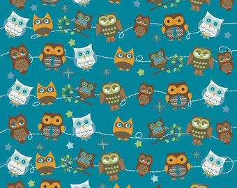 Doohikey Designs, Hooty Hoot Returns, Hooty Roll Call Blue Fabric - Half Yard