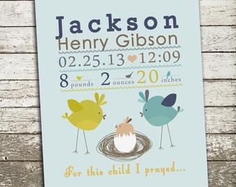 Personalized Birth Statistics Print, Newborn Gift, Baby Shower Gift, Nursery Print, Baby Boy Birth Stats - For This Child I Prayed