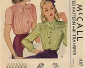 Vintage McCall's 1940s Sewing Blouse Patterns 1187
