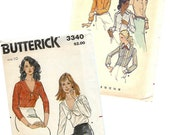 Vintage Sewing Pattern 1970s Shirts Butterick 3340 OR 6525