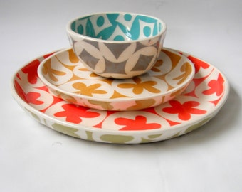cereal bowl--turquoise and pale grey