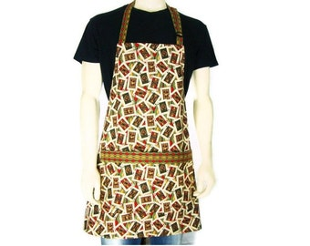 Poker Cards Apron for Men,  Casino Kitchen Decor,  Chef Style with pocket