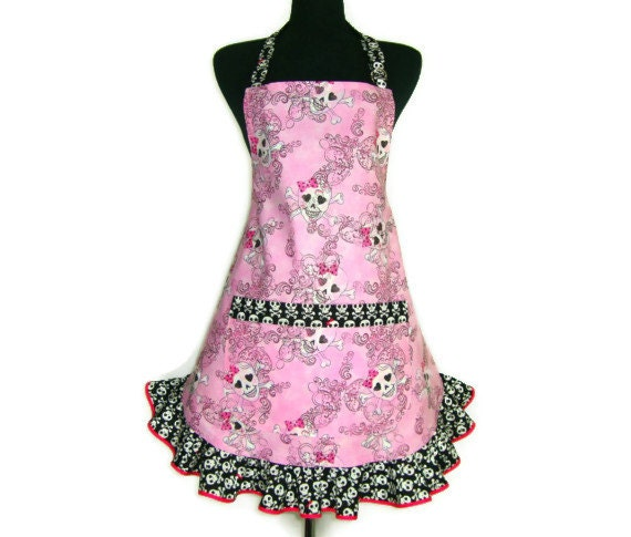 Skull And Crossbones Apron Girly Skulls On Pink With Black