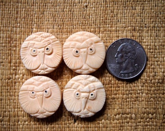 Four Handcarved Ox Bone Owl Coin Beads 24mm