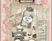 INSTANT DOWNLOAD Vintage Sewing Bits & Pieces Collage for Journals, Cards, Crafts Digital Printables