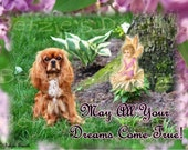 Ruby Cavalier King Charles Spaniel Blank Greeting Card/Dreams/Whimzical