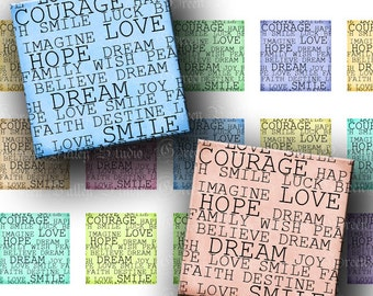 INSTANT DOWNLOAD Beautiful Words Square Tiles Digital Collage Sheet Love One 1 Inch and 7/8 Inch Squares for Pendants Crafts (GS157,GSS157)
