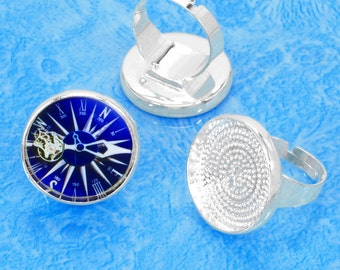 free matching glass 40 pcs silver tone circular Adjustable Blank tray Ring
