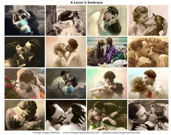 A LOVERS EMBRACE Vintage Images - Instant Download Digital Collage Sheet